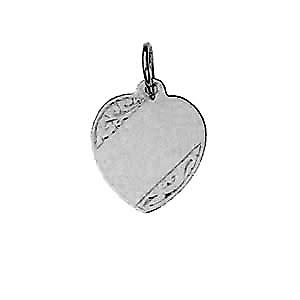 Silver 16x14mm hand engraved heart Disc