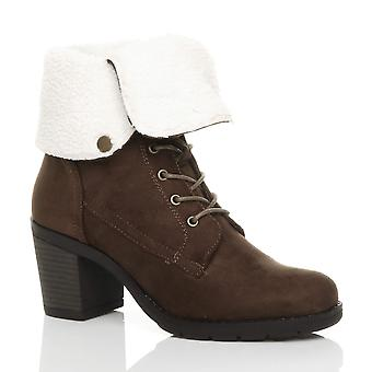 Ajvani womens mid block heel fur collar lined lace up winter ankle boots