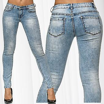 Women's skinny jeans pants tube stretch hipster jeans acid bleach washed trousers