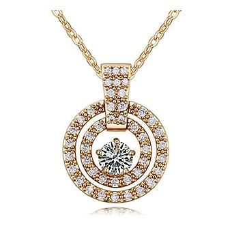 Womens Round Sun Circular Pendant Necklace Crystal Elements Gold