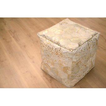 SITZPOUF STOOL SEAT CUBE STOOL LEATHER HIGH QUALITY PATCHWORK IVORY GOLD