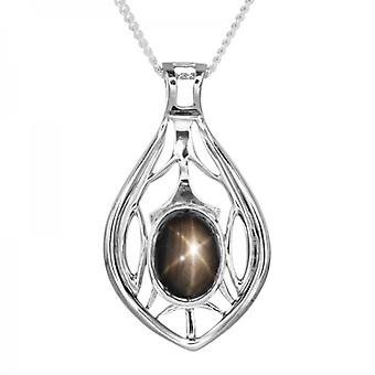 Ladies Shipton And Co Exclusive Silver Oval Black Star Sapphire Pendant Including A 16 Silver Chain PQA413AS