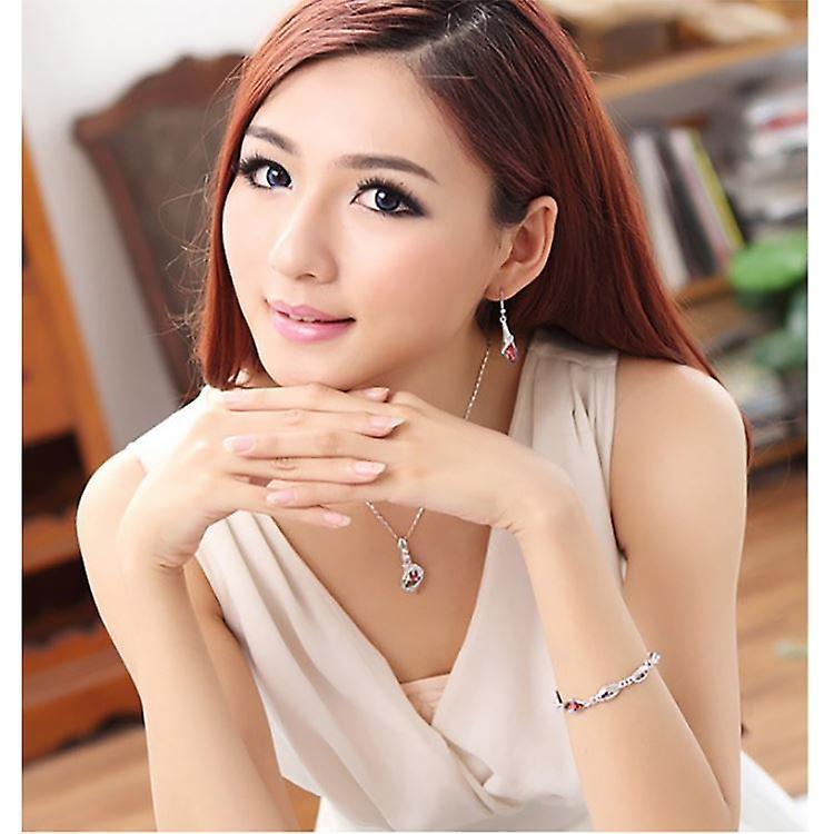 Beautiful Women's Orange Crystals Leaf Pendant Necklace BGCW0066