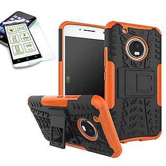 Hybrid case 2 piece SWL Orange for Lenovo Moto G5 plus + tempered glass bag case cover