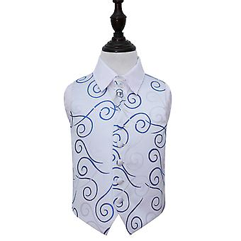 Silver & Royal Blue Scroll Wedding Waistcoat & Cravat Set for Boys