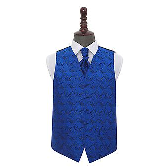 Blu Royal Paisley sposa gilet & Cravat Set