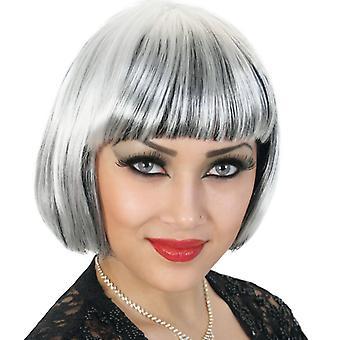 Bob wig black white stripe wig