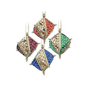 Pinflair Sequin & Pin Gemstone Cube Bauble Ornaments - Makes 4