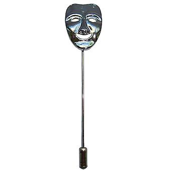 Bassin and Brown Happy Mask Lapel Pin - Silver