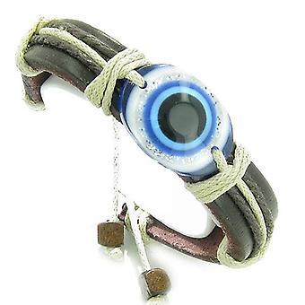 Amulett aus echtem Leder verstellbare Armband mit allen sehenden Evil Eye Protection Symbol Glücksbringer