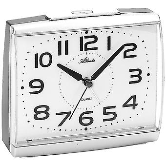Atlanta 1919/19 alarm clock quartz analog silver quietly without ticking with light Snooze