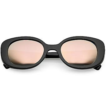 Retro Thick Chunky Oval Sunglasses Colored Mirror Round Lens 52mm