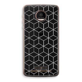 Motorola Moto Z Force Transparent Case (Soft) - Cubes black and white