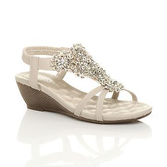 Ajvani womens mid wedge heel flower diamante t-bar strappy slingback sandals
