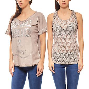 B.C.. best connections 2 in 1 shirt & top with lace Brown