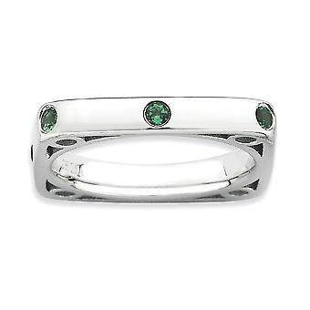 3.25mm Sterling Silver Bezel Rhodium-plated Stackable Expressions Polished Created Emerald Square Ring - Ring Size: 5 to