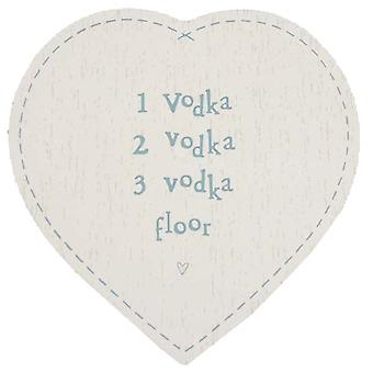East of India Novelty Vodka Wooden Heart Coaster