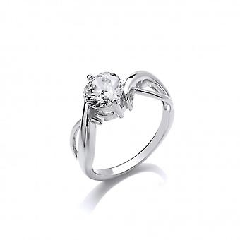 Cavendish French 'Loving Twist' Cubic Zirconia and Silver Ring