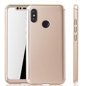 Xiaomi Mi 8 Handy-Hülle Schutz-Case Full-Cover Panzer Schutz Glas Gold