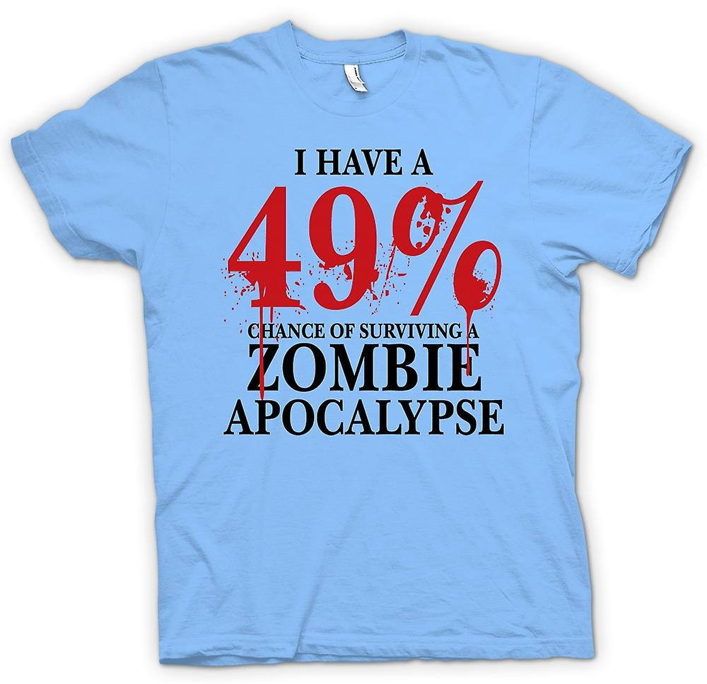Heren T-shirt-Zombie Apocalypse 49% - Horror grappig