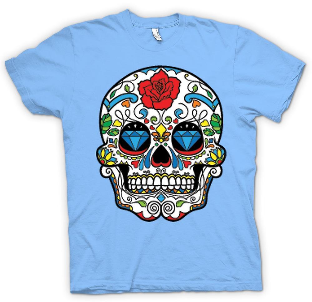 Mens T-shirt - Mexican Sugar Skull - Dia De Los Muertos