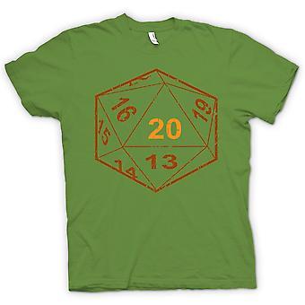 男装 t 恤-龙与龙 D20 骰子-玩家