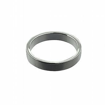 9ct White Gold 4mm plain flat Wedding Ring Size Q
