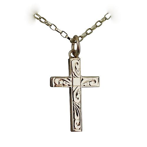 9ct Gold 20x12mm hand engraved solid block Cross with a belcher Chain 16 inches Only Suitable for Children