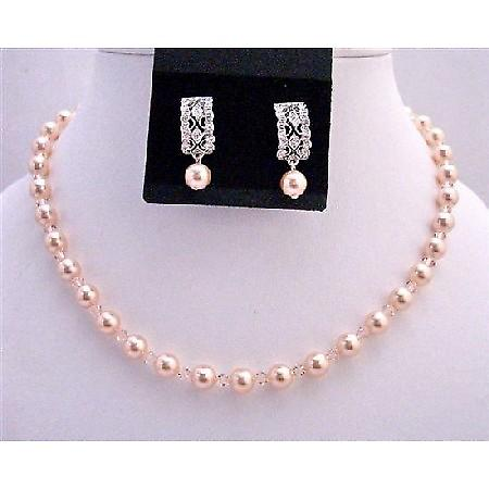 Peach Bridesmaid Swarovski Pearls & Crystals Custom Necklace Earrings