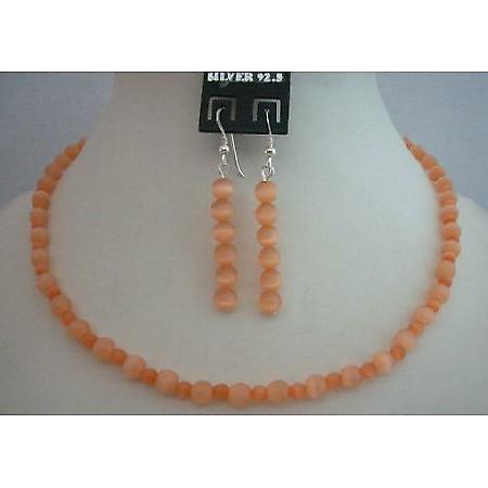 Sleek Dainty Cutom Jewelry Peach Cat Eye Sterling Silver Necklace Set