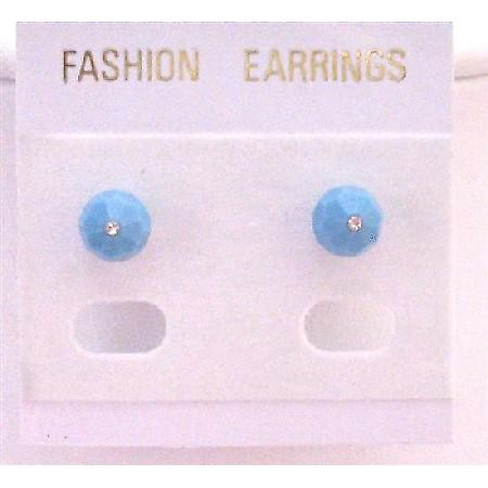 Swarovski Turquoise Crystal Stud Earrings Inexpensive Earrings Jewelry