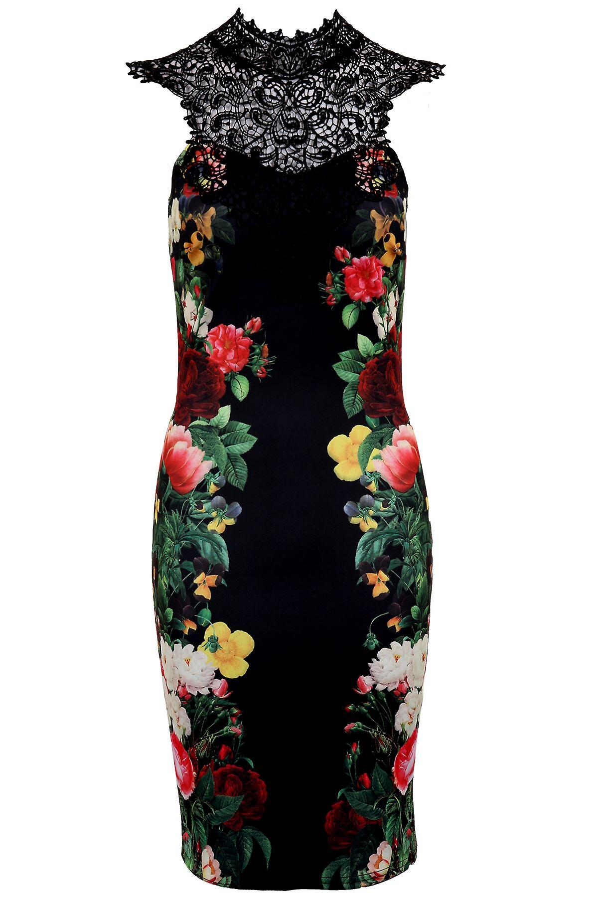 Ladies Sleeveless Crochet Neck Floral Print  Evening Party Women's Bodycon Dress