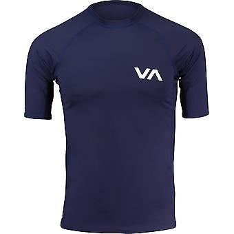 RVCA Mens VA Sport Short Sleeve Compression Training Rashguard - Navy