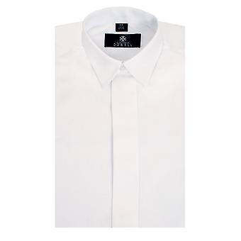 Dobell jungen weißen Kleid Hemd Regular Fit Standard Kragen Plain Fly vorne
