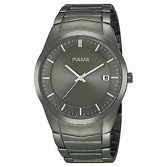 Pulsar Mens Ion-Plated Stainless Steel Black Dial PS9153X1 Watch