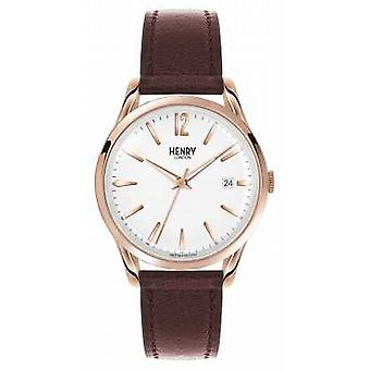 Henry London Richmond Brown Leather Strap White Dial HL39-S-0028 Watch