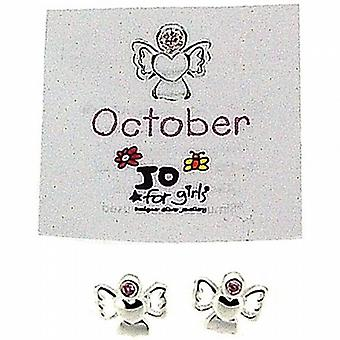 Jo For Girls Sterling Silver October Simulated Birthstone Angel Stud Earrings