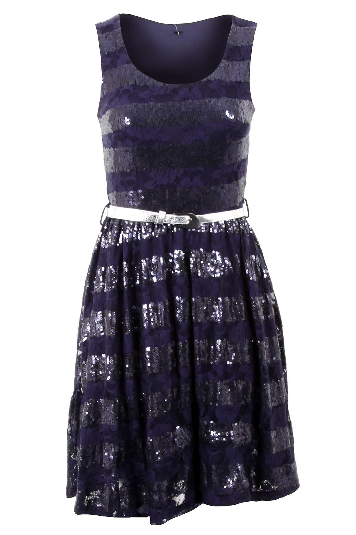 Ladies Floral Lace Print Vertical Sequin Belted Party Flare Skater Women's Dress