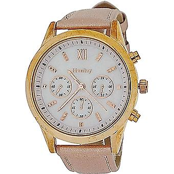 Henley Ladies Mother Of Pearl Chrono Effect Dial & Pu Pink Strap Watch H06066.5