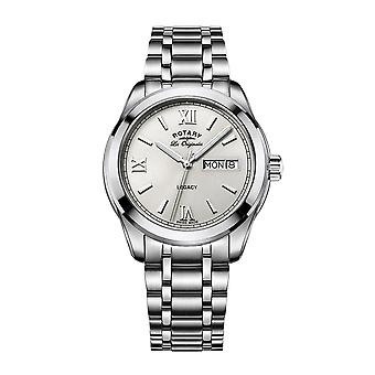 Rotary Mens Quartz Watch Off-White Dial Analogue Display Silver Stainless Steel