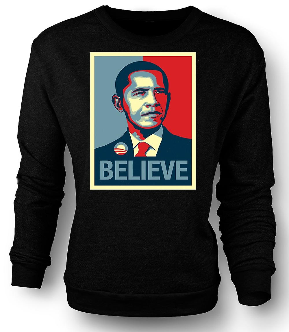 Mens Sweatshirt Obama tror endring