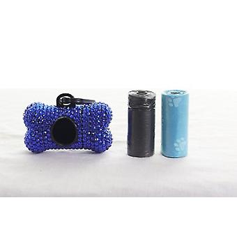 Dunkel Blau Kristall Strass Knochen geformt Waste Bag Dispenser