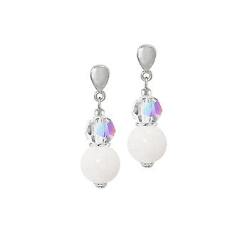 Eternal Collection Enchantment Mountain Jade And AB Crystal Silver Tone Drop Pierced Earrings