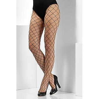 Teal Diamond Net Tights, Fever Hosiery, UK Size 6-18