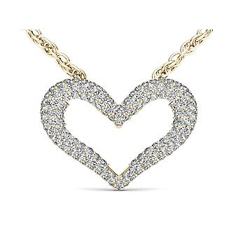 IGI Certified Solid 10k Yellow Gold 0.33Ct Diamond Bold Heart Pendant Necklace