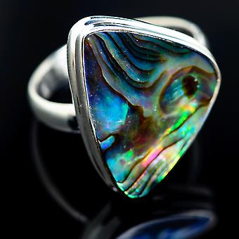 Large Abalone Shell Ring Size 12.25 (925 Sterling Silver)  - Handmade Boho Vintage Jewelry RING968014