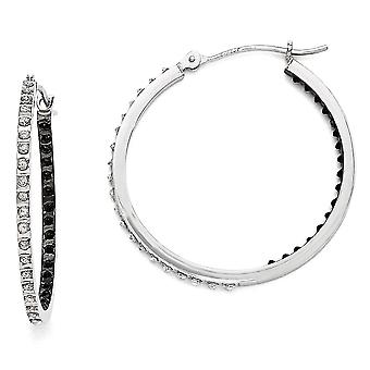 14k White Gold Polished Diamond Fascination B and W Dia. Round Hinged Hoop Earrings - Measures 30x2mm