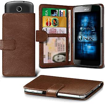 ONX3 Acer Liquid Z503 Leather Universal Spring Clamp Wallet Case With Card Slot Holder and Banknotes Pocket-Brown