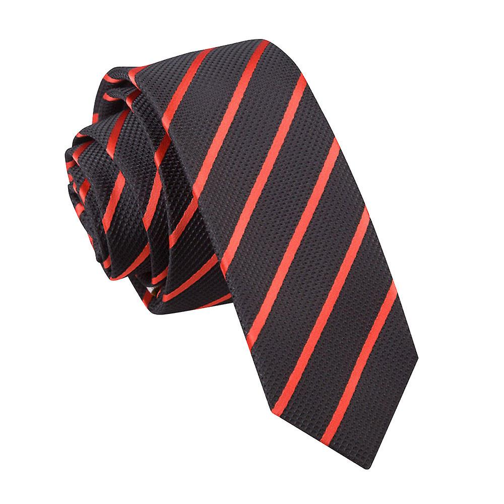 Black & Red Single Stripe Skinny Tie