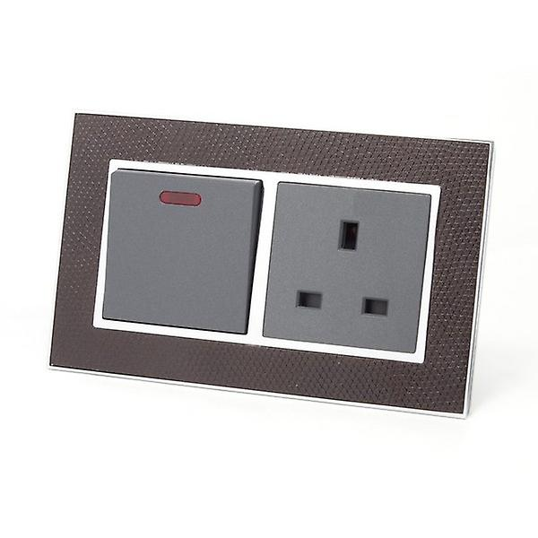 I LumoS AS Luxury Goat Skin Leather Double 45A Switch with Unswitched 13A UK Socket